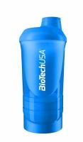 Šejker Wave+ modrý priesvitný - 850 ml (500ml + 150 ml + 200 ml)