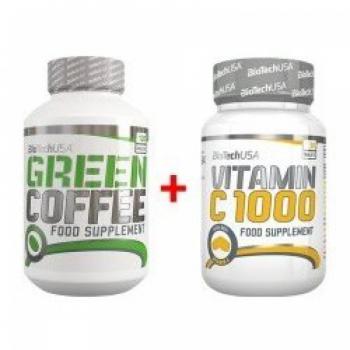 Green Coffee - Zelená káva  120 kaps. + Vitamín C 1000 30 tab. - BioTech USA